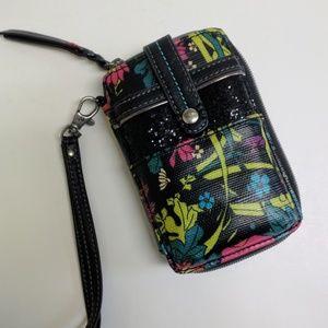 Sakroots peace wallet wristlet black floral